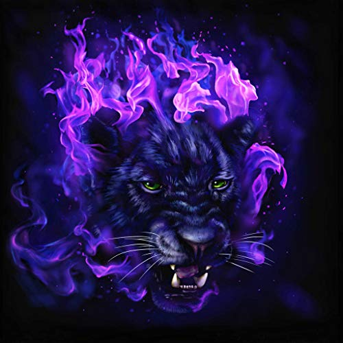 Mome  5D DIY Diamond Embroidery5D Diamond Painting, Full Drill Square Tiger and Snow Leopard Crystals Embroidery DIY Resin Cross Stitch Kit Home Decor Craft 30x30cm (Purple Fire Tiger) -
