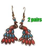 SODIAL(R) 2 paires de Boucles d'oreilles retros de forme de paon en bronze