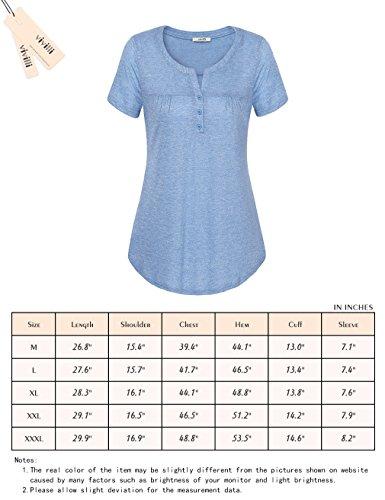 Vivilli Womens V Neck Short Sleeve Shirts Casual Tee