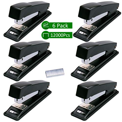 Stapler, Ezire 6 Staplers with 12000 Staples,20 Sheets Capacity, Black (Pack of 6)