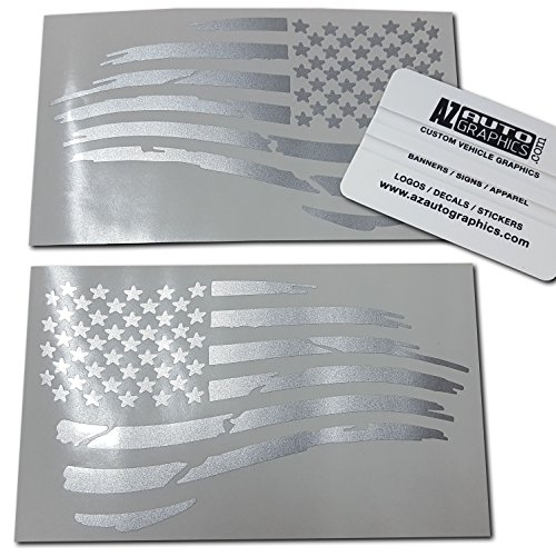 Az AutoGraphics Distressed USA American Flag Decal Die-Cut Grunge Subdued Tattered Military (Silver) ()
