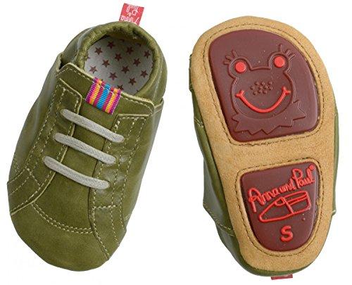 Anna und Paul , Chaussures souple pour bébé (garçon) oliv L - 22 - ca 14.1 cm - 16-22 Monate