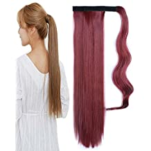 BarRan Long Straight Synthetic Hairpiece Wrap Around on Ponytail Clip in Pony Tail Hair Extensions for women (Wine Red)