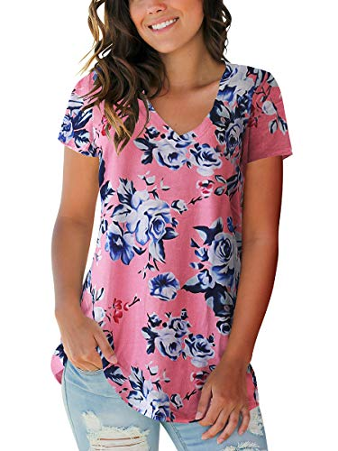 Women's Shirts Printed Casual Short Sleeve V Neck Cute Tops Floral Rose Pink M