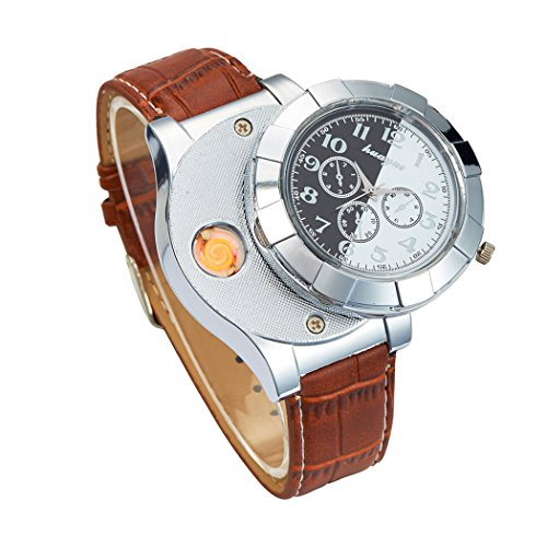 inkint Fashion Antique Sports Watch Lighter Electric USB Rechargeable Flameless Windproof Cigar/ Cigarette Lighter Quartz Watch with Vintage Design