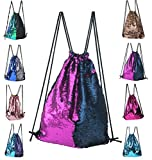 Cheap Drawstring Backpack, Fashion Glitter Sequins Mermaid Cut Magic Reversible Glitter String Bag Purple Blue