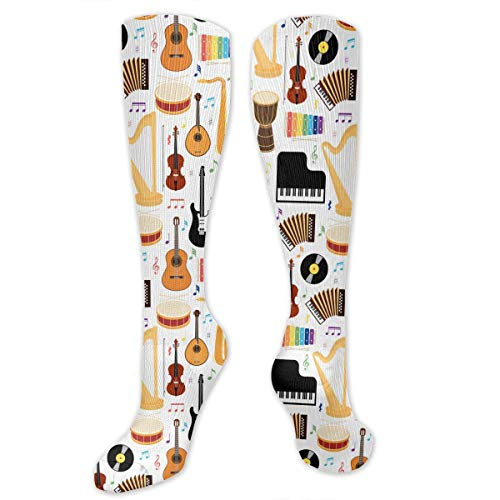 Unisex Cal Instruments Pattern Knee High Compression Thigh High Socks Soft Socks