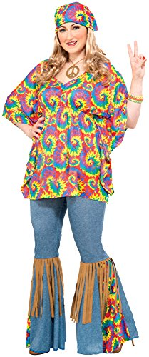 Forum Novelties Women's Plus-Size Hippie Chick Plus Size Costume, Multi, (Bell Bottoms Halloween Costume)