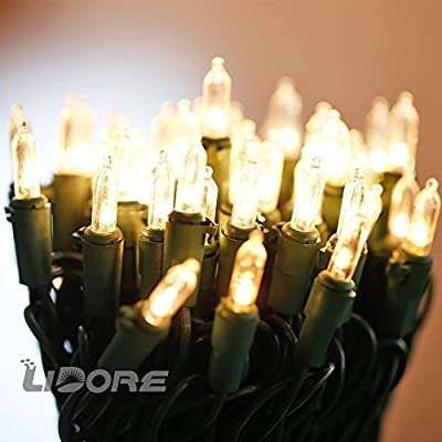 LIDORE Super Bright LED Mini Christmas Tree Lights. 100 Count Bulbs with 52 Ft Green wire. Warm White Color . Similar to incandescence mini lights. Longer Lifetime, More Safety.