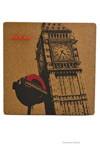 American Chateau Big Ben Tower of London Home Office Cork Wall Hanging Memo Board with 5 Push Pins - Chateau Le Pin