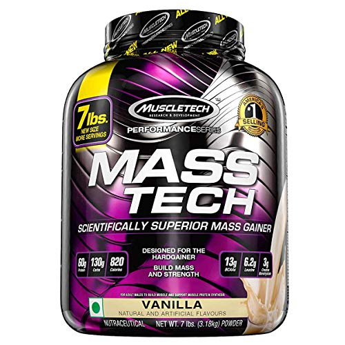 MuscleTech Mass Tech, Scientifically Superior Weight Gain Formula, Vanilla, 7 lbs (3.18kg)
