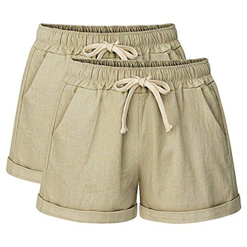 (Yknktstc Womens Plus Size Elastic Waist Cotton Linen Casual Beach Shorts with Pockets X-Large 2 Pack Khaki)