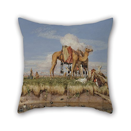 Artistdecor Pillow Covers Of Oil Painting John Frederick Lewis - On The Banks Of The Nile, Upper Egypt 16 X 16 Inches / 40 By 40 Cm Best Fit For Christmas Indoor Monther Kids Boys Bar Office 2 Side