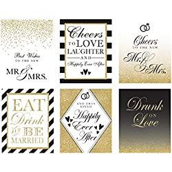 Bridal Shower Gifts for Bride, Bridal Shower Favors, Wedding Wine Bottle Labels (Set of 6) for Bachelorette Party Gifts, Engagement Party Gifts, Bridal Gifts for the Bride, Wine Labels