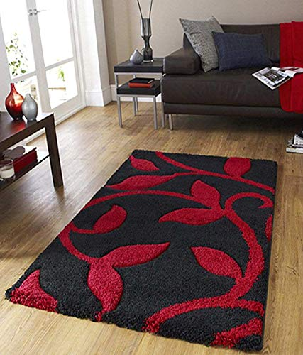 Global Home 3D Carpet Runner for Living Room (Red and Black, 22X55 Inch)