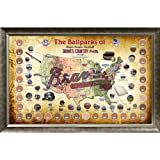 Steiner Sports MLB Atlanta Braves Major League Baseball Parks Map 20x32 Framed Collage with Game Used Dirt from 30 Parks