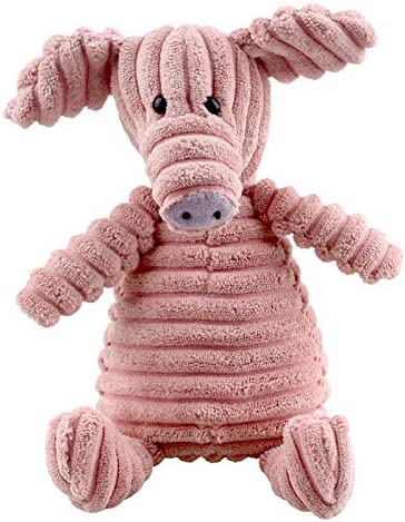 MEKEET Squeaky Dog Toys,Durable Puppy Toy,Soft Natural Corduroy Stuffed Plush Cute Dog Toys,Dog Toys with Grinding Teeth, Interactive Aid Good Behave Training for Small Medium Dogs(Pink)