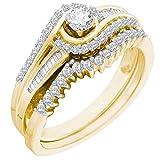 0.40 Carat (ctw) 14K Yellow Gold Round & Baguette White Diamond Engagement Ring Band Set (Size 9)