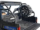 SuperATV Heavy Duty Spare Tire Carrier for Polaris Ranger XP 900 / Crew (2013+) - Wrinkle Black - ONLY Mounts to the SuperATV Rear Roll Cage Support!