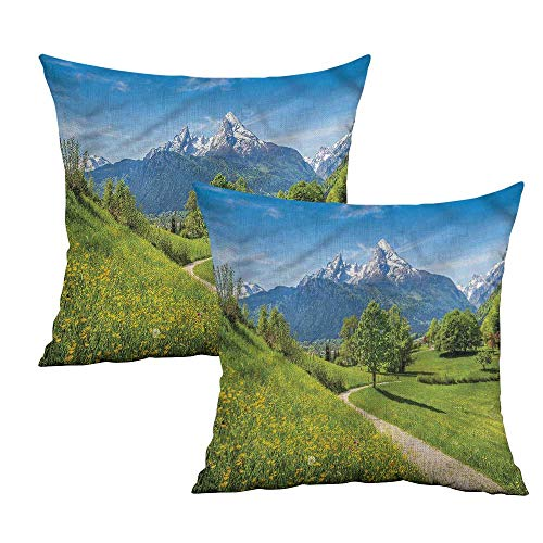 Khaki home Mountain Square Slip Pillowcase Spring Scenery in Alps Square Pillowcase Covers with Zipper Cushion Cases Pillowcases for Sofa Bedroom Car W 14