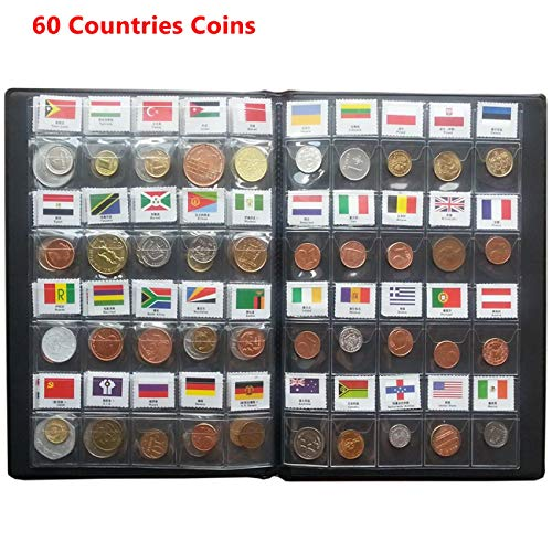 Coin Collection Starter Kit 60 Countries Coins /100% Original Genuine/World Coin with Leather Collecting Album Taged by Country Name and Flags/Coin Holder Collection Storage Classic Gifts