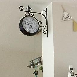 r/étro pour int/érieur et ext/érieur Cadran des 2 c/ôt/és Style Pendule de Gare Noir /él/éments d/écoratifs m/étalliques Horloge Murale r/ésiste aux intemp/éries blumfeldt Paddington