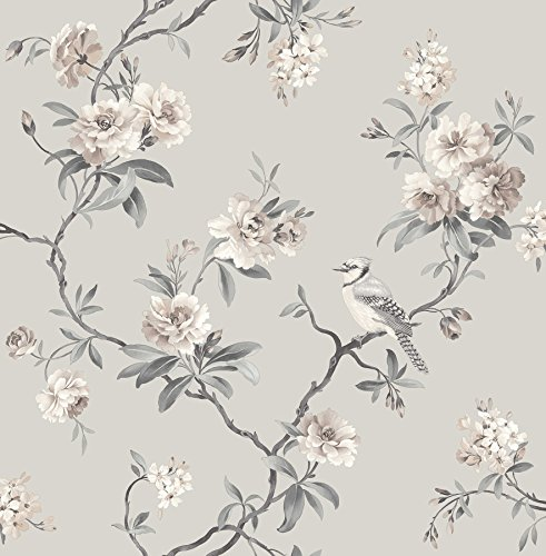 Fine Decor 2900-40764 Chinoiserie Floral Wallpaper, Stone