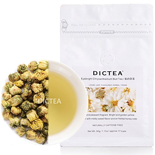 Chrysanthemum Buds Tea (1.7oz / 50g), Eyebright Tea, Hangzhou Tai Ju, Chinese Healthy Herbal Tisane, Flower Tea, Decaffeinated, Organic Loose Leaf Tea, 100% Fragrant Natural by DICTEA
