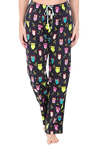 Alexander Del Rossa Womens Flannel Pajama Pants, Long Cotton Pj Bottoms, Medium Colorful Owls (A0703R78MD) (Owl Yours Pajamas)