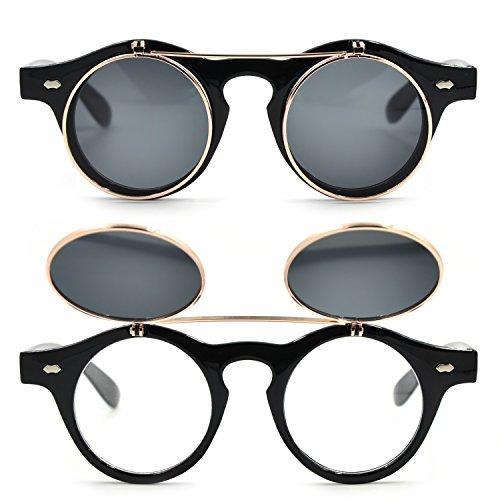 CoolChange Retro Sonnenbrille mit Flip Up Gläsern in Schwarz oder Leopard (Schwarz)