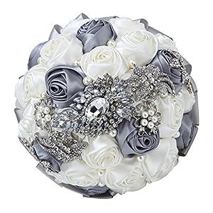 FAYBOX Hand Made Silk Rose Rhinestone Brooch Wedding Bouquets Customization Pearls Bride Holding Flowers 5