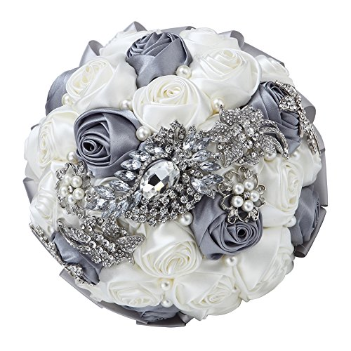 Hand Made Silk Rose Rhinestone Brooch Wedding Bouquets Customization Pearls Bride Holding Flowers