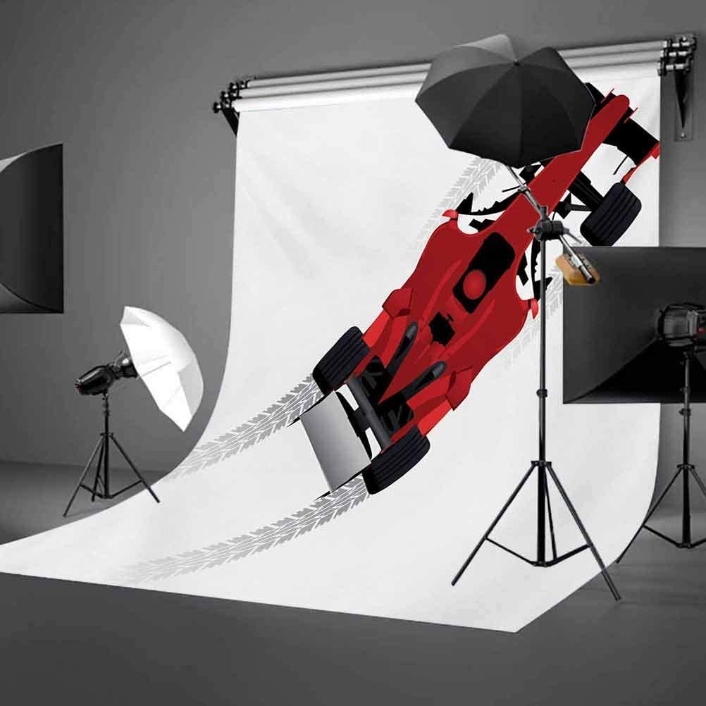 Cars 6.5x10 FT Photo Backdrops,Formula Car on Speedway Championship Fast Performance Rally Strong Vehicle Background for Baby Birthday Party Wedding Vinyl Studio Props Photography Red Black Pale Gray