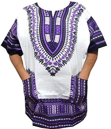 Decoraapparel Boys Girls Dashiki Shirts S, M, L, XL African Hippie Men Women Dashiki Blouse Shirt 1X, 2X, 3X (3X White)