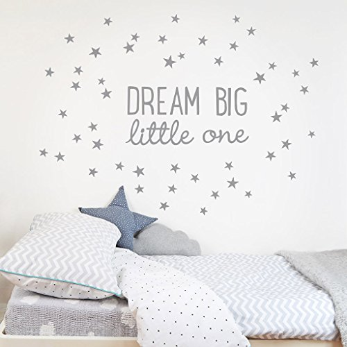 - Koko Kids Dream Big Little One Fabric Wall Decal ~ for baby nursery and children's rooms. Made of fabric, not vinyl, free from BPA & Phthalates. (Small, Grey)