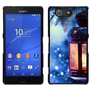 EJOY---Cubierta de la caja de protección para la piel dura ** Sony Xperia Z3 Compact ** --Hielo del árbol de navidad de la linterna de invierno Picea