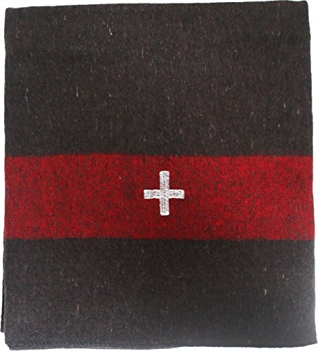 Army Universe Original Swiss Army Blanket Wool Thick Cover Throw Military Embroidered White Cross - Deluxe Size 86
