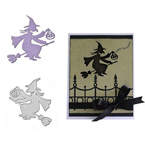 Cutting Dies, Halloween Witch Pumpkin Die Cuts for Card Making DIY Scrapbooking Paper Album Embossing Craft Decoration Metal Carbon Steel -