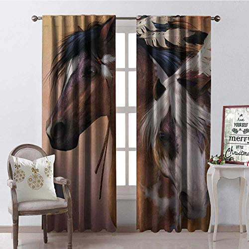 Hengshu dian Horse Feather Room Darkening Wide Curtains Decor Curtains by W120 x L108