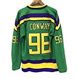 """JerseyFame #96 Conway """"The Mighty Ducks"""" Hockey Jersey ALL SIZE GREEN"""