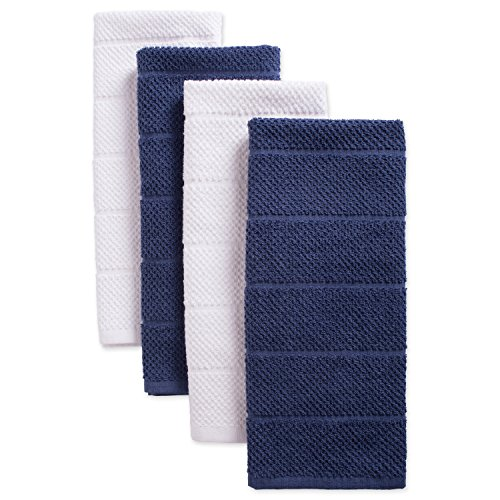 DII Cotton Luxury Chef Terry Dish Towels, 16x26 Set of 4, Ultra-Absorbent Cleaning Drying Kitchen Towels-French Blue/White