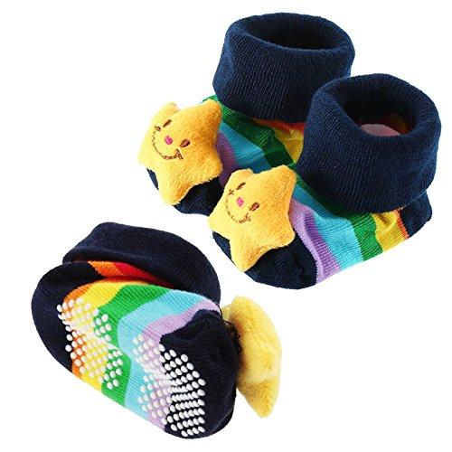 Chaussettes bébé, aa-isuper Chaussettes antidérapantes pour bébé en coton, antidérapant 3d Cartoon Chaussures pour bébé de 0à 12mois (étoile)