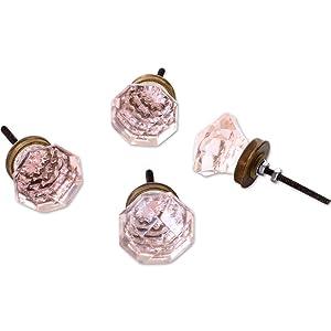 Koyal Wholesale Pink Glass Diamond Octagon 1.50 inch Diameter 4-Pack Cabinet Pulls, Knobs, Decorative Drawer Hardware Handles for Kitchen Cupboard Doors, Bathroom Vanity, Bedroom Dresser Chest