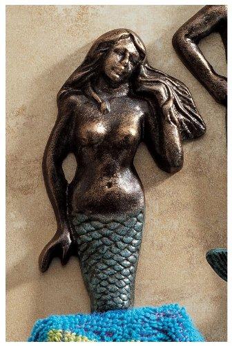 XoticBrands Classic Decorative Mermaid Foundry Iron Towel Robe Bathroom Wall ()