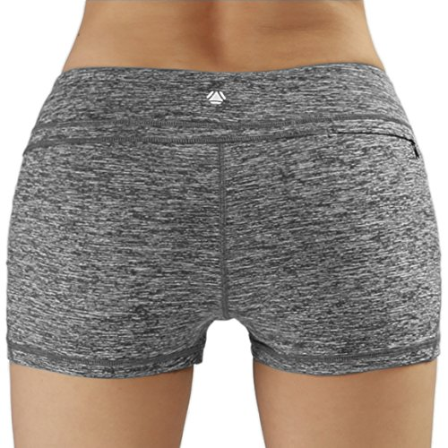 Yoga Women's Yoga Shorts Workout Running Active Short Hidden Pocket , CharcoalHeather , Large (Egyptian Girl Sexy)