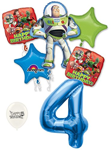 - 4th Birthday Toy Story Buzz Lightyear and Friends Party Decorations Balloon Bouquet Bundle