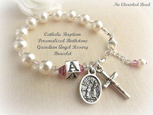 Catholic Baby Baptism Personalized Swarovski Birthstone Rosary Bracelet with Initial Bead and Guardian (Swarovski Baby Bracelet)