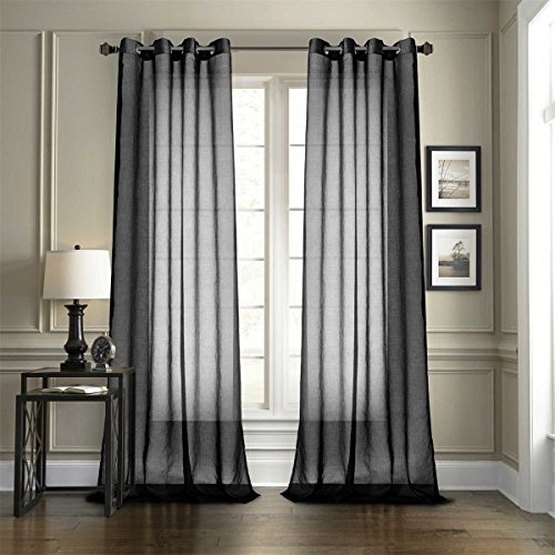 Door Floral Case - Dreaming Casa 2 Pieces Black Sheer Curtains Voile Window Curtain Grommet Top Panels for Bedroom & Living Room (52