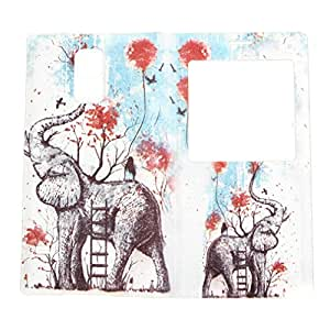 TJA View Window Painting Art Elephants Style Housing Flip Back Battery Door Case Cover for Samsung Galaxy S5 SV