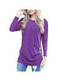 Shinekoo Women Long Sleeve Shoulder-off Tunic Tops Lace Blouse Bandage Shirt